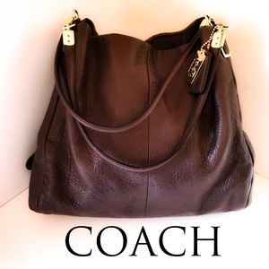 Coach Dark Brown Madison Leather Sm Phoebe Bag